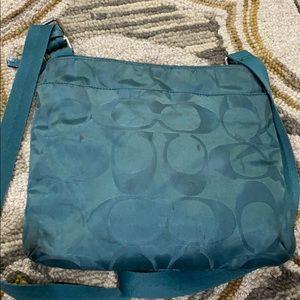Coach Bags - 💕 Coach bluish green medium fabric crossbody 💕